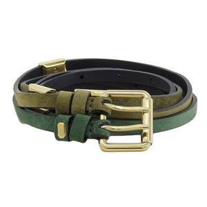 NET Genuine BALENCIA GA Balenciaga Suede Belt Green Gold Brackets Women