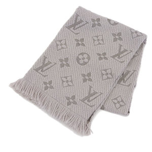 Louis Vuitton LOUIS VUITTON New Tag Escalp Logo Mania LV Muffler Gray Griperle M74742