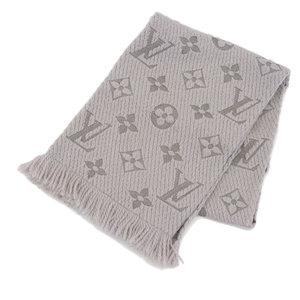 Louis Vuitton LOUIS VUITTON New Tag Escalp Logo Mania LV Muffler Gray Griperle M74742
