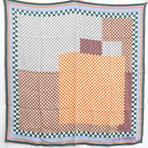 Louis Vuitton LOUIS VUITTON Scarf 100% Silk Multicolor Block Check Geometric Pattern