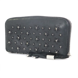 Jimmy Choo JIMMY CHOO Black Leather Round Zipper Wallet Long Purse Ladies Studs