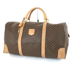 Celine CELINE Macadam Pattern Brown x Beige Canvas Leather Boston Bag