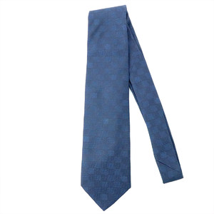 Louis Vuitton LOUIS VUITTON Tie Damier Navy Silk Men