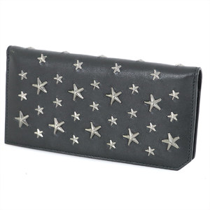 Jimmy Cho JIMMY CHOO black leather BLS / 163 Long wallet unisex star
