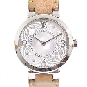 LOUIS VUITTON Louis Vuitton Ladies Watch Tambour Slim PM Q12 MG Silver Dial 8P Diamond Quartz