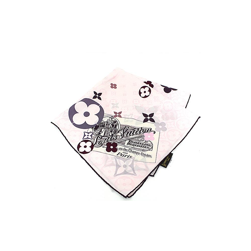 Louis Vuitton LOUIS VUITTON Silk Scarf Champs Elysees Monogram Flower 100% Pink Brown
