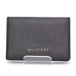 BVLGARI WEEKEND Business Card Holder Gray Black Coated Canvas Calf Leather 32588 Case Like New