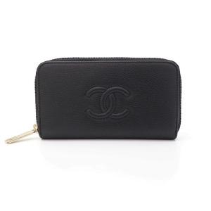 シャネル(Chanel) レディース  カーフスキン カードウォレット ブラック