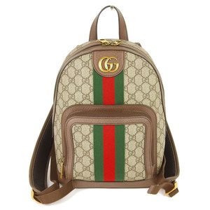 Genuine Gucci GG Supreme Rucksack Backpack Beige Brown 547965 Leather