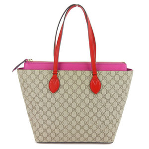 Genuine Gucci GG Supreme Tote Bag Beige Pink Red 415721 Leather