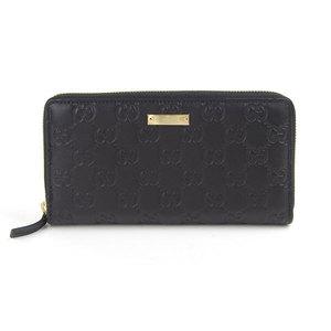 Genuine Gucci Guccisima Round zipper Long wallet Black 307980 Leather