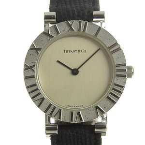 TIFFANY & Co. Atlas Silver 925 Leather Quartz Ladies Watch