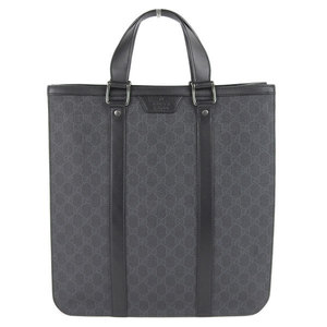 Genuine Gucci GG Supreme Tote Bag Black 322072 Leather