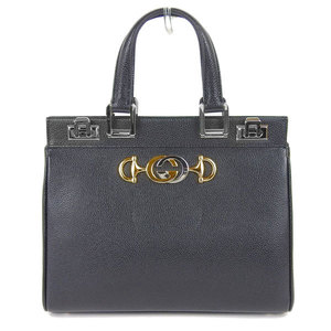 Genuine Gucci Zumi Leather 2Way Hand Shoulder Bag Black 569712