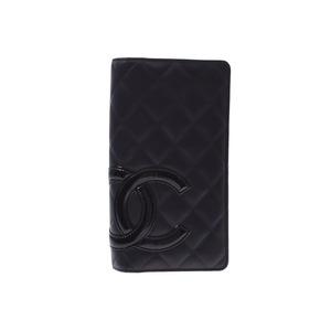 シャネル(Chanel) シャネル カンボンライン 二ツ折長財布 黒/黒 レディース レザー/エナメル Aランク 美品 CHANEL 箱 ギャラ 中古 銀蔵