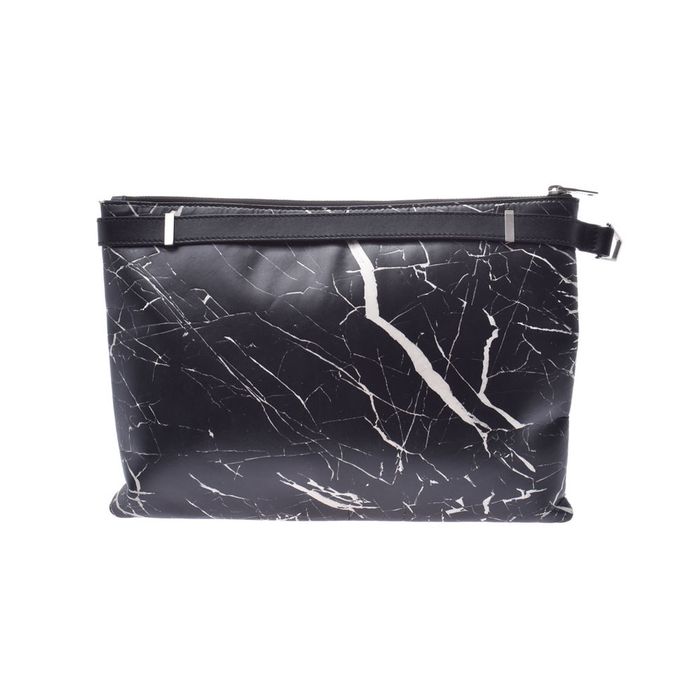 Balenciaga Phileas Clip M Black / White Men's Ladies Leather Clutch Bag