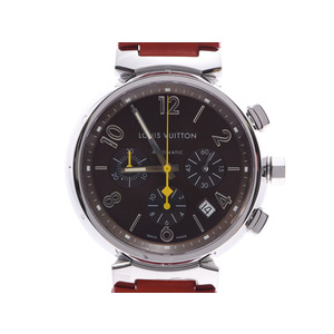 Louis Vuitton Tambour Chronograph Brown dial Q11211 Men's SS / leather Automatic winding watch A rank LOUIS VUITTON used Ginzo