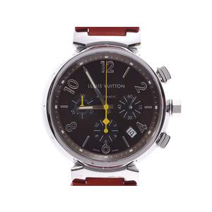 ルイヴィトン タンブール クロノグラフ ブラウン系文字盤 Q11211 メンズ SS/革 自動巻 腕時計 Aランク LOUIS VUITTON 中古 銀蔵
