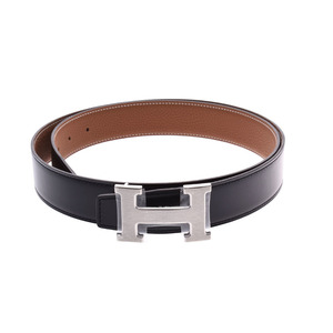 Hermes H Belt 95cm Black / Gold SV Bracket D Engraved Men's Leather New HERMES Box Ginzo