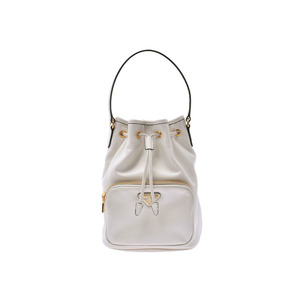 Prada 2WAY bucket bag White GP hardware 1BH038 Ladies calf PRADA Galla strap Used Ginzo