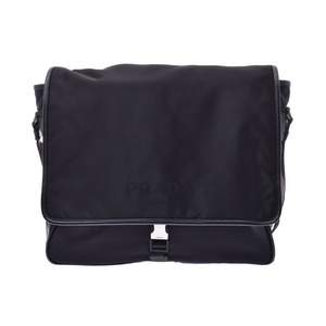 Prada Messenger Bag Black V158 Men's Nylon / Safiano Shoulder