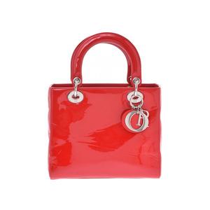 ディオール(Dior) ディオール レディディオール 赤 SV金具 レディース エナメル 2WAYハンドバッグ ABランク CHRISTIAN DIOR 中古 銀蔵