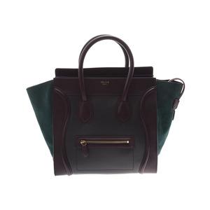 Celine Luggage Mini Dark Brown / Khaki Green Ladies Calf Suede Handbag AB Rank CELINE Used Ginzo