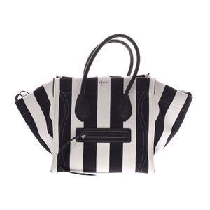 Celine Luggage Phantom Black / White Striped Ladies Canvas Leather Handbag AB Rank CELINE Used Ginzo