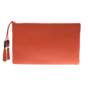 Gucci Bamboo Clutch Bag Orange Outlet Women's Men's Calf