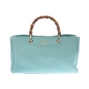 Gucci Bamboo Shopper Light Blue Based Women's Calf / 2WAY Handbag New Same Item GUCCI with Strap Used Ginzo