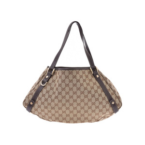 Gucci tote bag beige women's GG canvas / leather B rank GUCCI used Ginzo