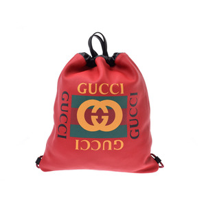 Gucci Drawstring Backpack Red Men's Women's Leather 2WAY Bag A Rank Good Product GUCCI Used Ginzo