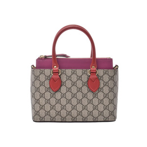 Gucci GG Supreme 2WAY handbag Gurege / Pink Red Ladies PVC Leather A rank good product GUCCI with strap Used Ginzo