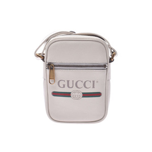 Gucci printed shoulder bag White G bracket Men's Women's leather New item beauty GUCCI used Ginzo