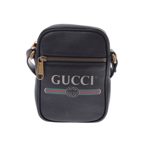 Gucci printed shoulder bag Black G bracket Men's Women's leather New item beauty GUCCI used Ginzo
