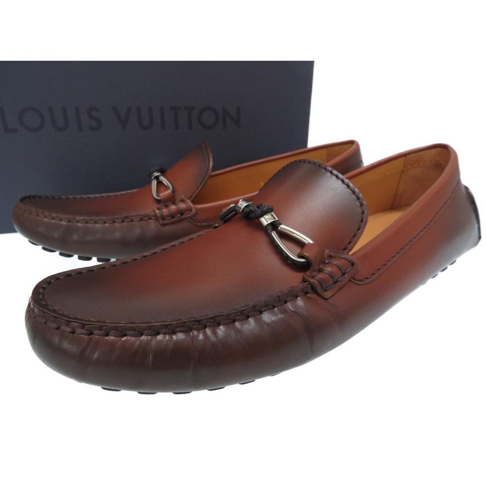 1affb07c2e Louis Vuitton Leather Driving Shoes Loafers Mens Size 8 Brown LV 0363 LOUIS  VUITTON | eLady.com