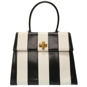Celine striped black white leather bicolor vintage gold clasp handbag bag 0080 CELINE