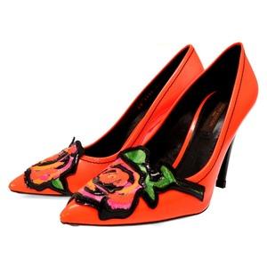 Louis Vuitton Monogram Vernis Rose Stephen Heel Pumps Orange 35 1 2 Women 0048 LOUIS VUITTON