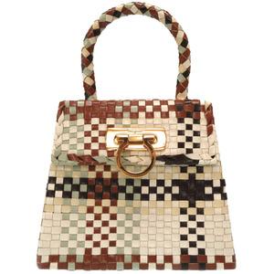 Salvatore Ferragamo Gancini Leather Multicolor Brown White DO-217269 Gold Hardware Handbag Bag 0078 Salvatore
