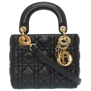 Christian Dior Lady Canage 2WAY Handbag Leather Black 0039 Christian Women