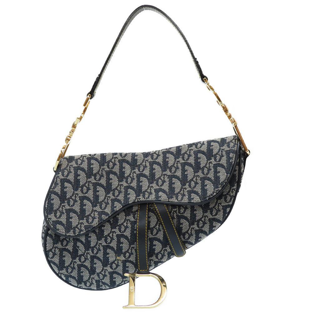 Like New Christian Dior Saddle Bag Trotter Shoulder Canvas Leather Navy 紺 0068