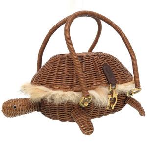 Salvatore Ferragamo Turtle Gancini Straw Real Fur Brown 21 5865 Amber Bag Handbag Blue 0036