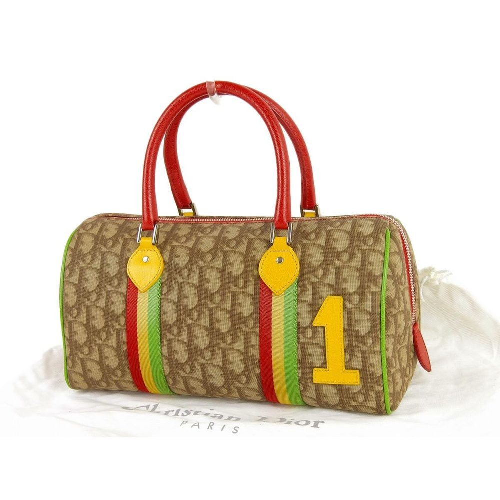 Christian Dior Rastaline Trotter Pattern Handbag Mini Boston PVC Leather Brown 20190719