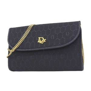 Christian Dior Vintage Logo Bracket 3way Clutch Handbag Shoulder Black 20190719