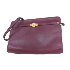 Christian Dior Vintage Leather Shoulder Bag Bordeaux Red Tea 20190719