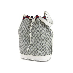 GUCCI Gucci Old GG canvas Sherry line drawstring shoulder bag navy white vintage 20190719