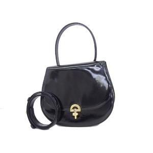 CELINE Celine Vintage 2way Handbag Enamel Black Shoulder 20190719