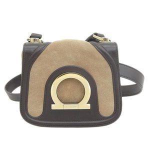 Salvatore Ferragamo Salvatore Suede Leather Gancini 2WAY Shoulder Bag Beige Brown AU-21-1821