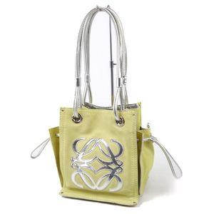 LOEWE Ladies Anagram Suede Patent Leather Handbag Yellow Silver Genuine Enamel Bag