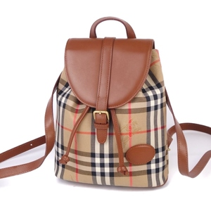 Vintage Burberrys Women's Horse Ferry Check Backpack Canvas Leather Beige Bag 鞄
